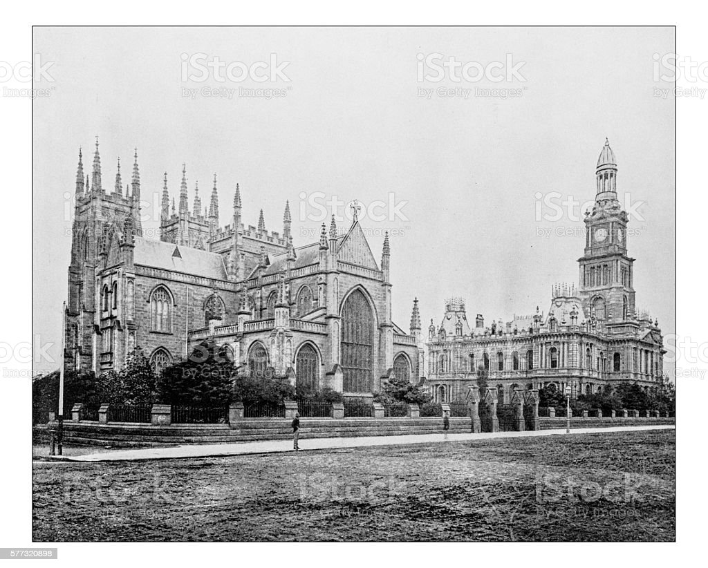 Antique photograph of town hall and St.Andrew's Cathedral(Sydney, Australia)-19th century stock photo