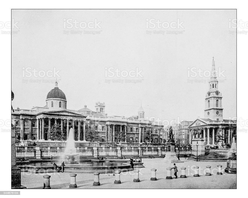 Antique photograph of Trafalgar Square (London, England)-19th century stock photo