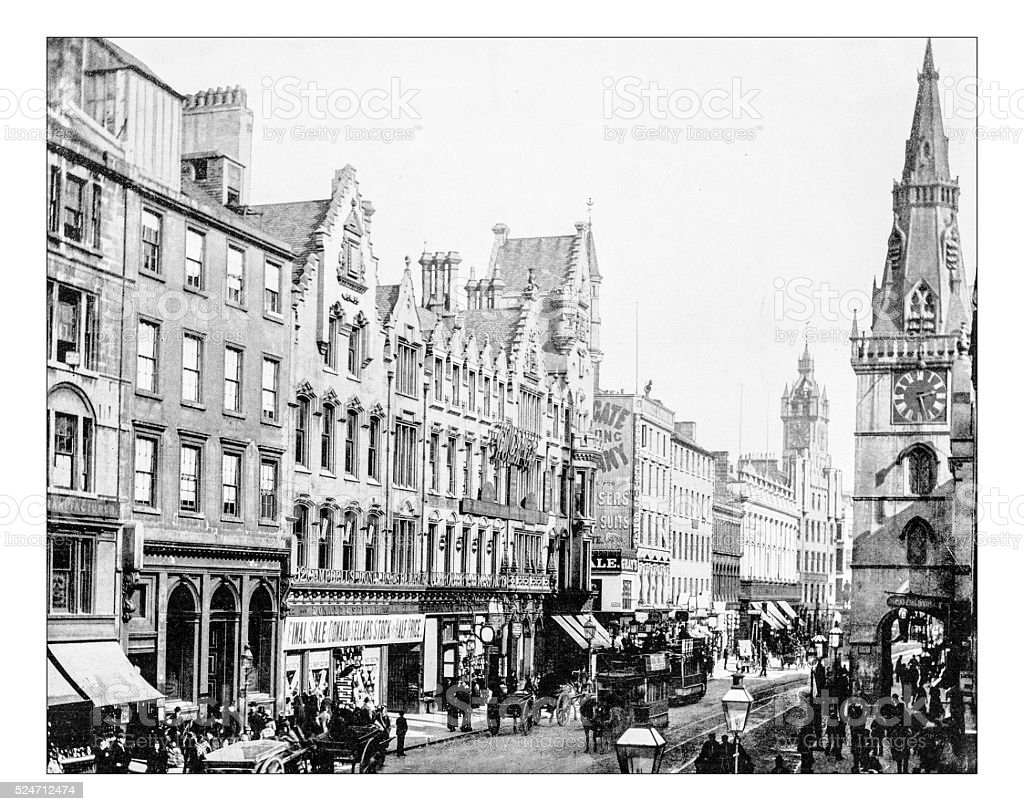 Antique photograph of Trongate (Glasgow,Scotland,19th century) stock photo