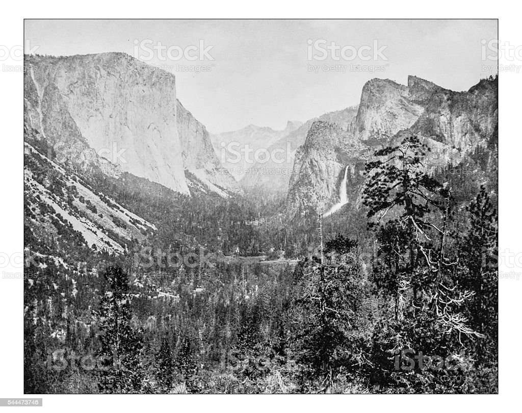 Antique photograph of tunnel view of Yosemite Valley(California, USA)-19th century stock photo