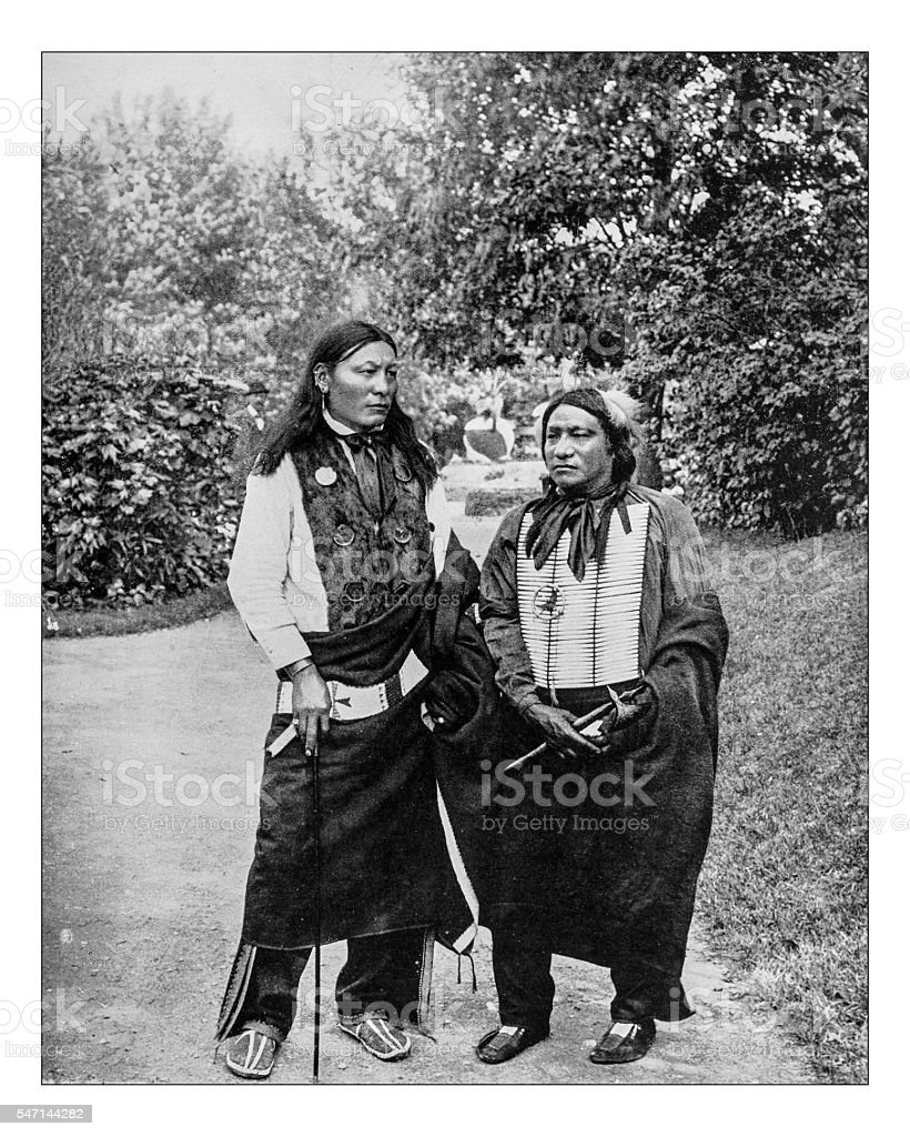 Antique photograph of two Sioux Indian Chiefs (1893) stock photo