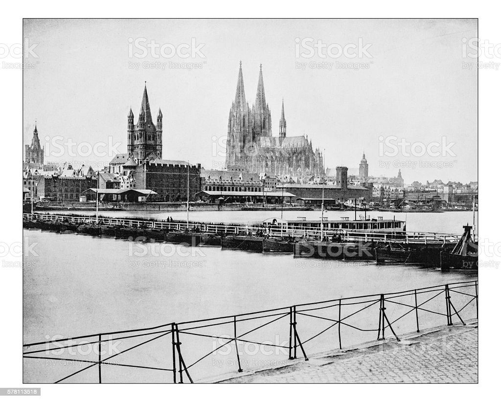 Antique photograph of view of Cologne (Germany) - 19th century stock photo