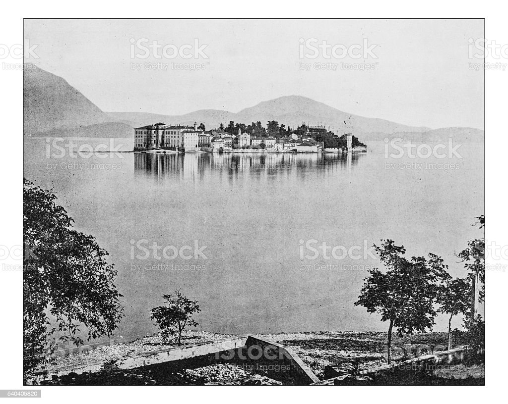 Antique photograph of view of Lake Maggiore-Isola Bella (Italy)-19th century stock photo
