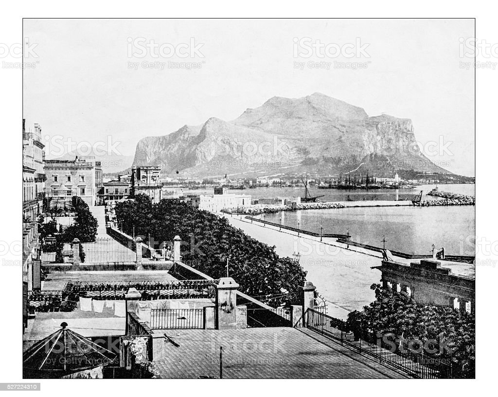 Antique photograph of view of Palermo (Sicily, Italy)-19th century stock photo