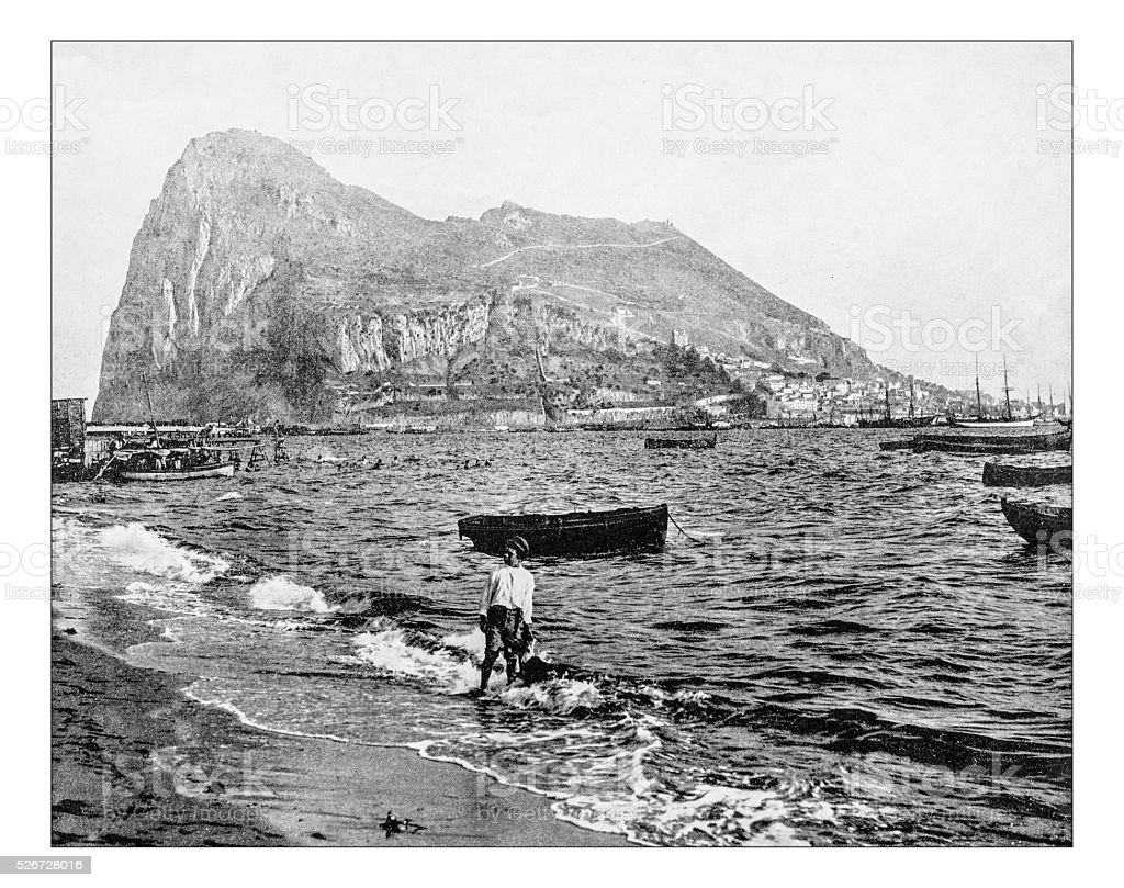 Antique photograph of view of Rock of Gibraltar (19th century) stock photo