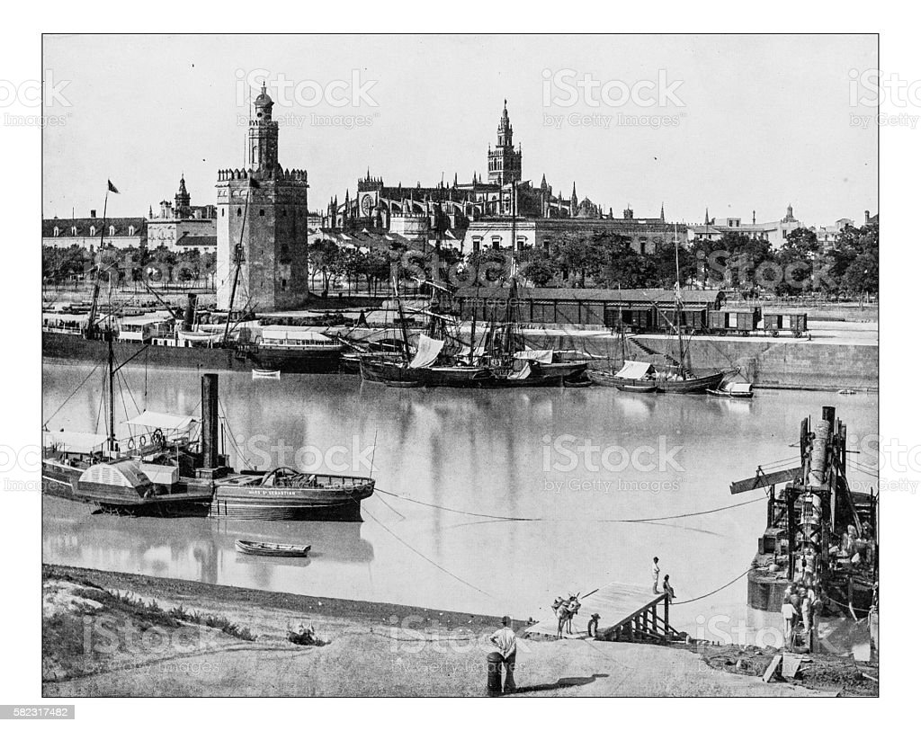 Antique photograph of view of Seville (Spain)-19th century stock photo