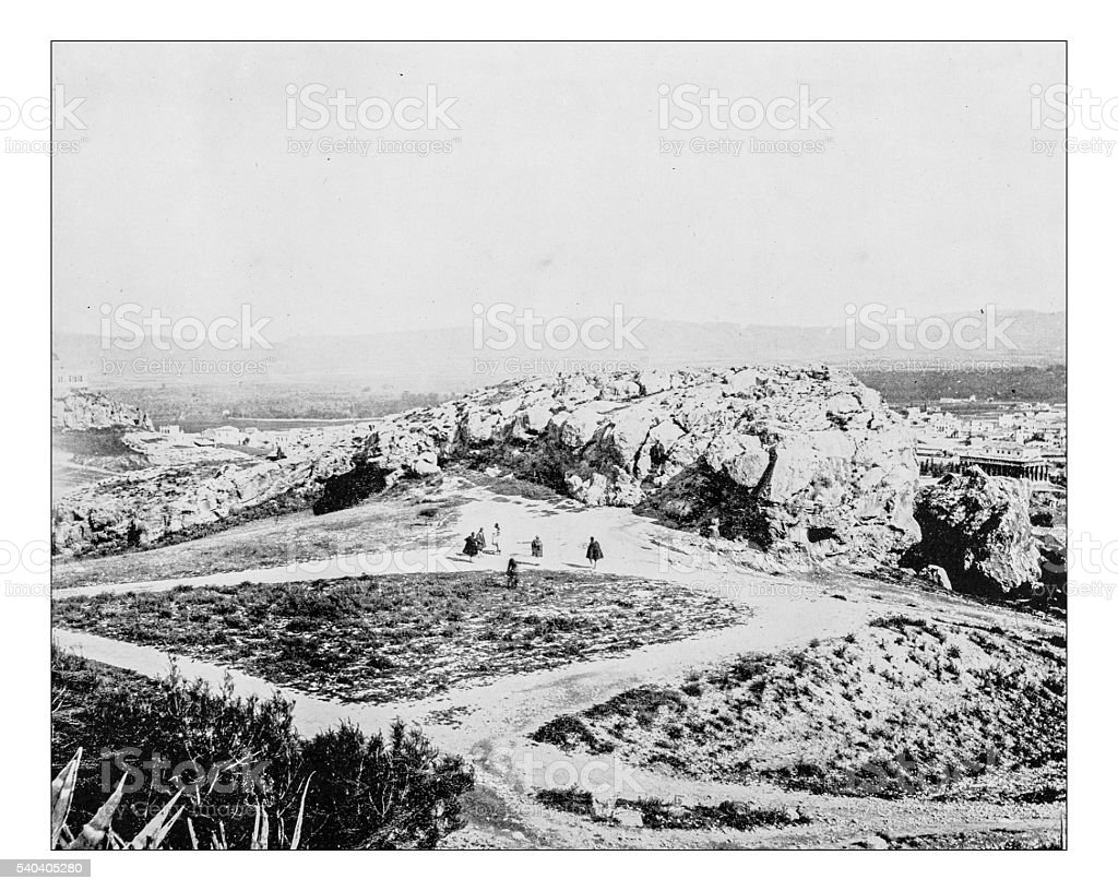 Antique photograph of view of the Areopagus (Athens, Greece)-19th century stock photo