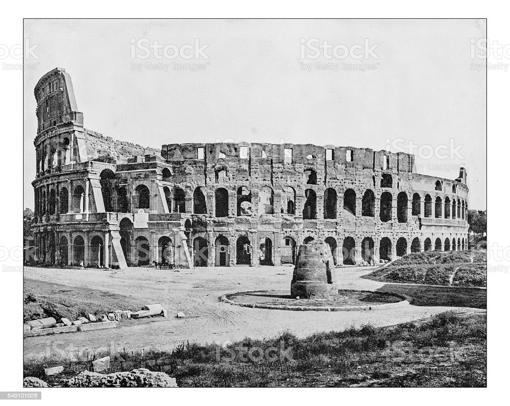 Antique photograph of view of the Colosseum (Rome, Italy)-19th century stock photo