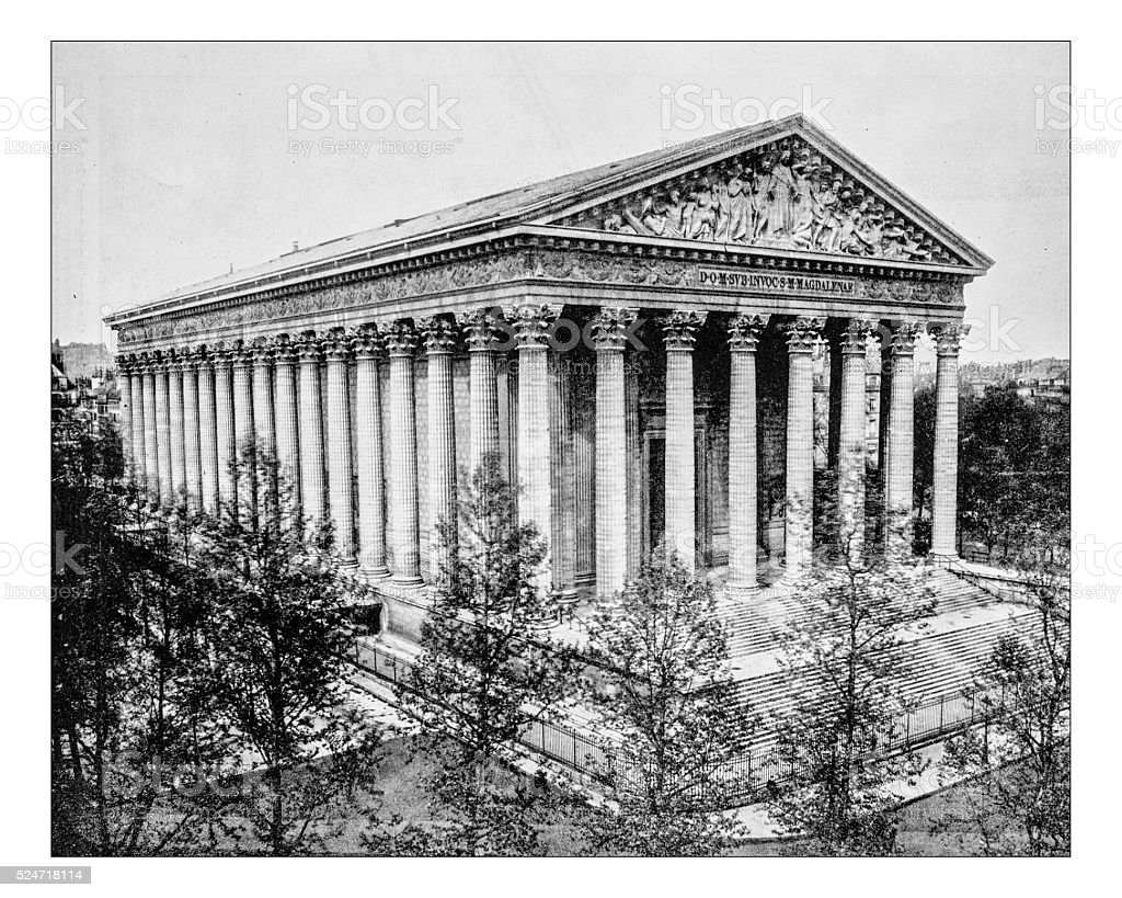 Antique photograph of view of the Parisian church La Madeleine stock photo