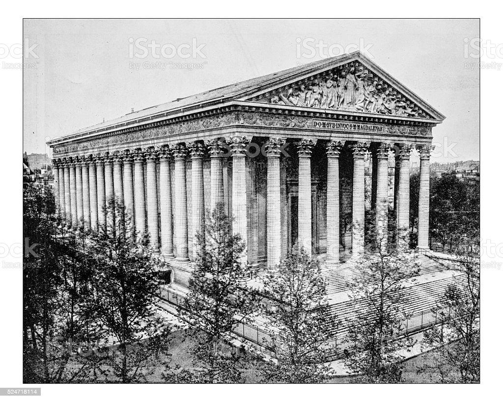 Antique photograph of view of the Parisian church La Madeleine stock photo