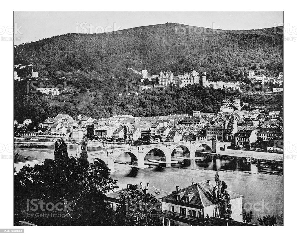 Antique photograph of view of town of Heidelberg (Germany)-19th century stock photo