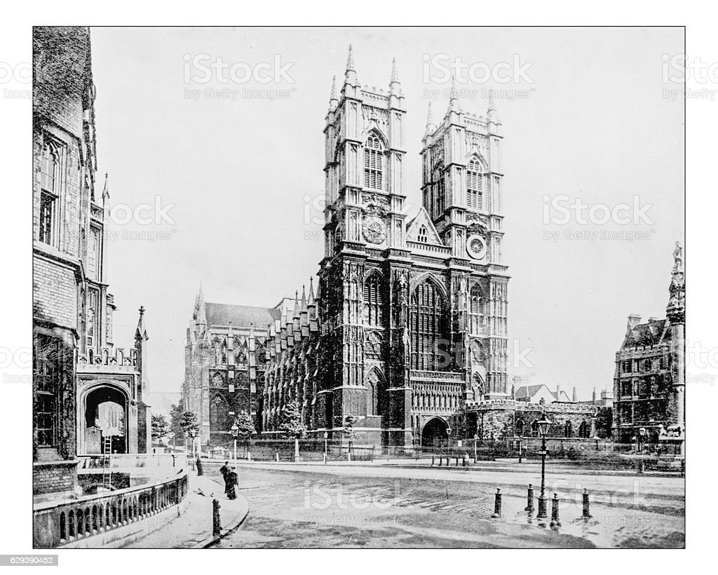 Antique photograph of Westminster Abbey (London,England)- 19th century picture. stock photo