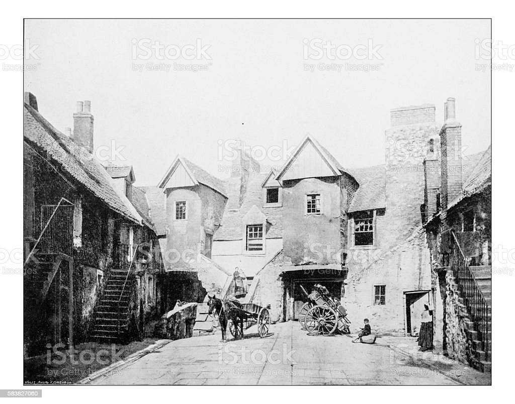 Antique photograph of White Horse Close (Edinburgh,Scotland,UK)-19th century stock photo