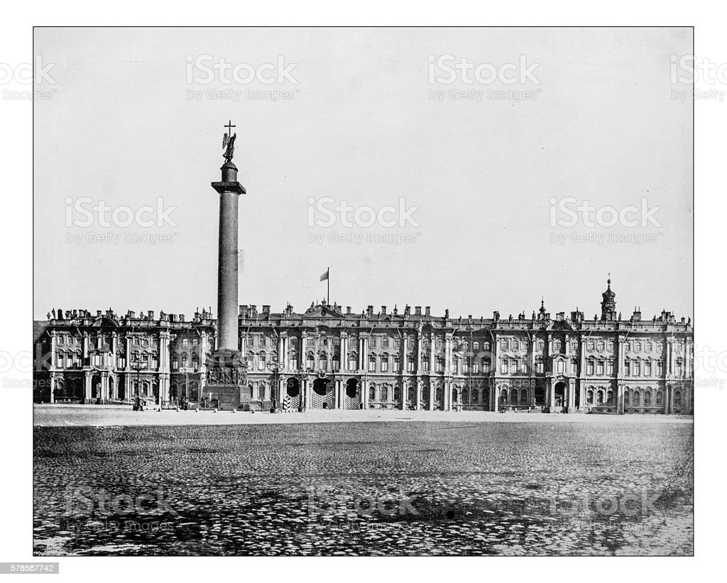 Antique photograph of Winter Palace (Saint Petersburg,Russia)-19th century stock photo