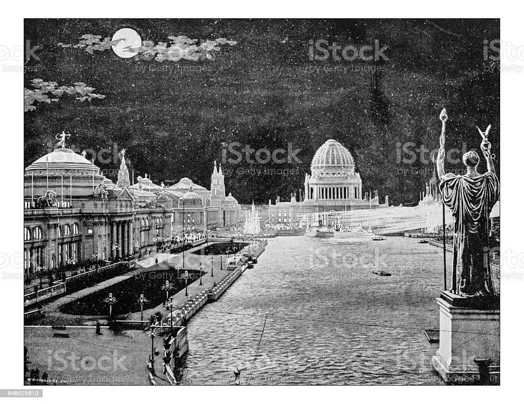 Antique photograph of World's Columbian Exposition at moonlight (Chicago,USA-1893) stock photo