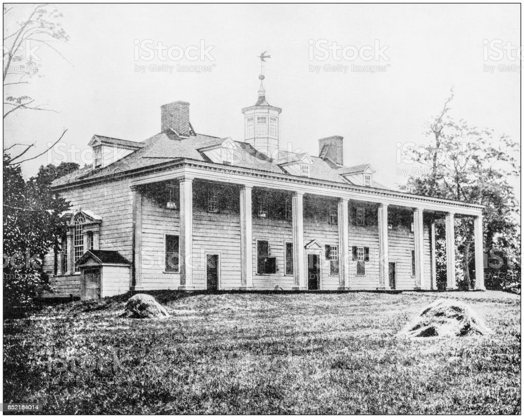 Antique photograph of World's famous sites: Washington's Home, Mt Vernon, Virginia stock photo