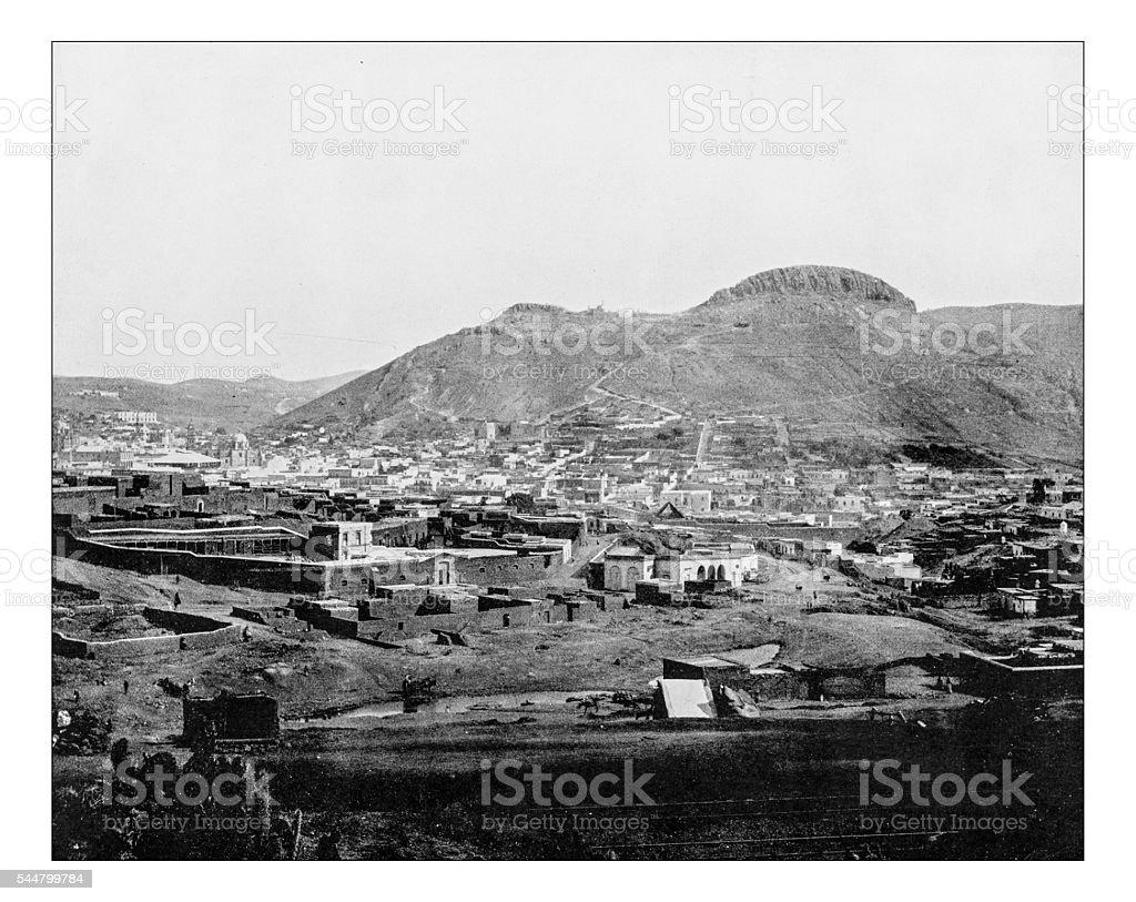 Antique photograph of Zacatecas (Mexico)-19th century stock photo