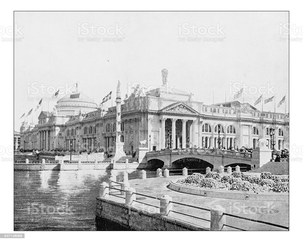 Antique photograph ofthe Agriculture building (World's Columbian Exposition,Chicago,USA)-1893 stock photo