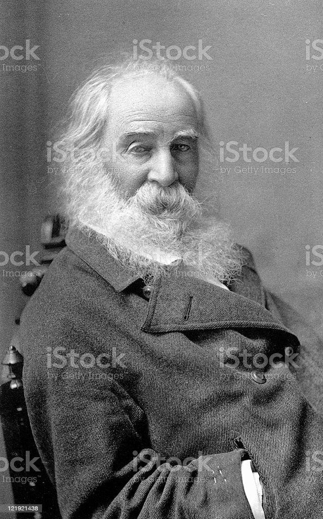 Antique Photograph Portrait of American Poet Walt Whitman stock photo