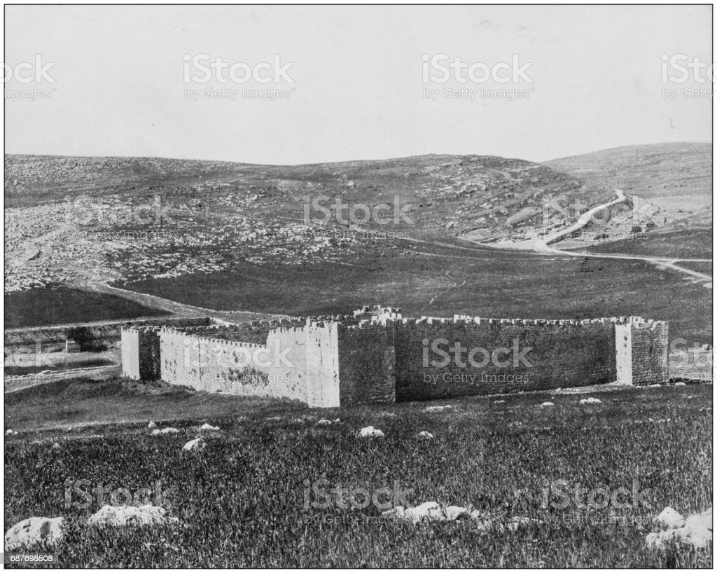 Antique photographs of Holy Land, Egypt and Middle East: A glimpse of Solomon's pools stock photo