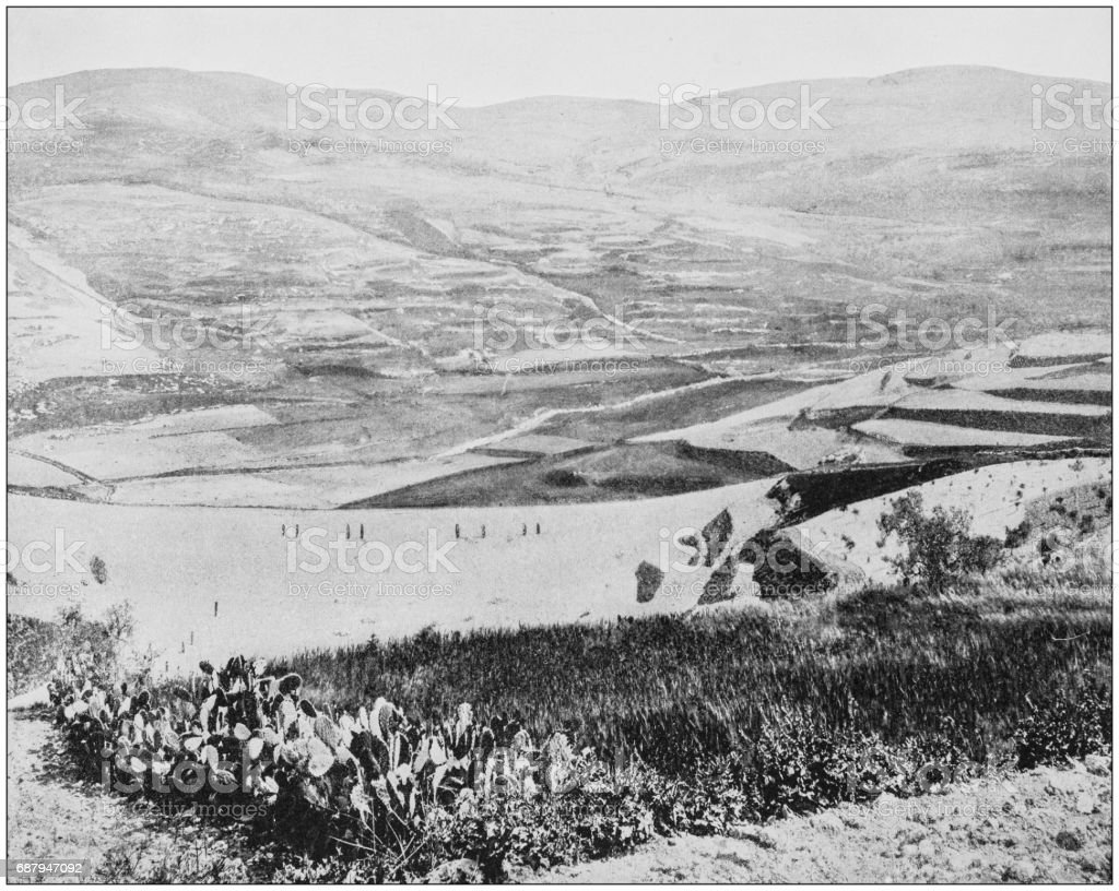 Antique photographs of Holy Land, Egypt and Middle East: Amphitheater of Herod, Samaria stock photo