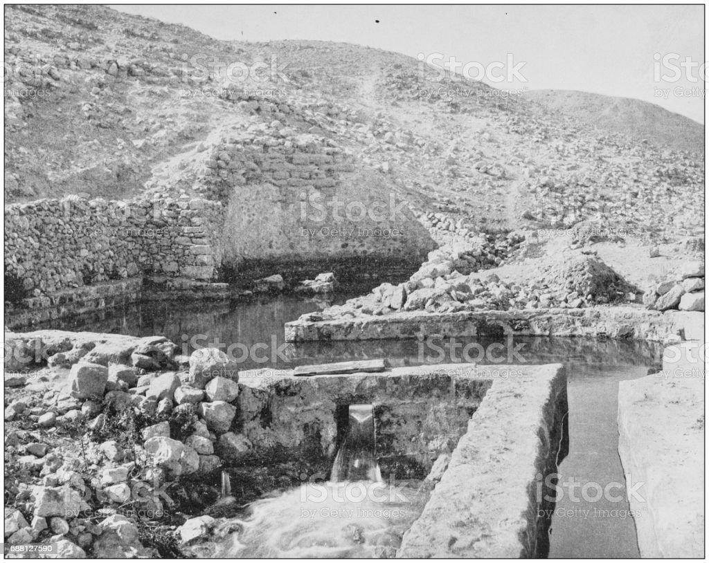 Antique photographs of Holy Land, Egypt and Middle East: Elisha's Fountain stock photo