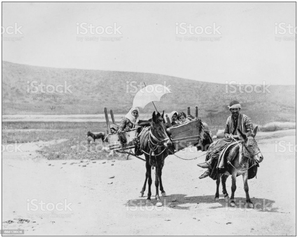 Antique photographs of Holy Land, Egypt and Middle East: Family traveling in Galilee stock photo