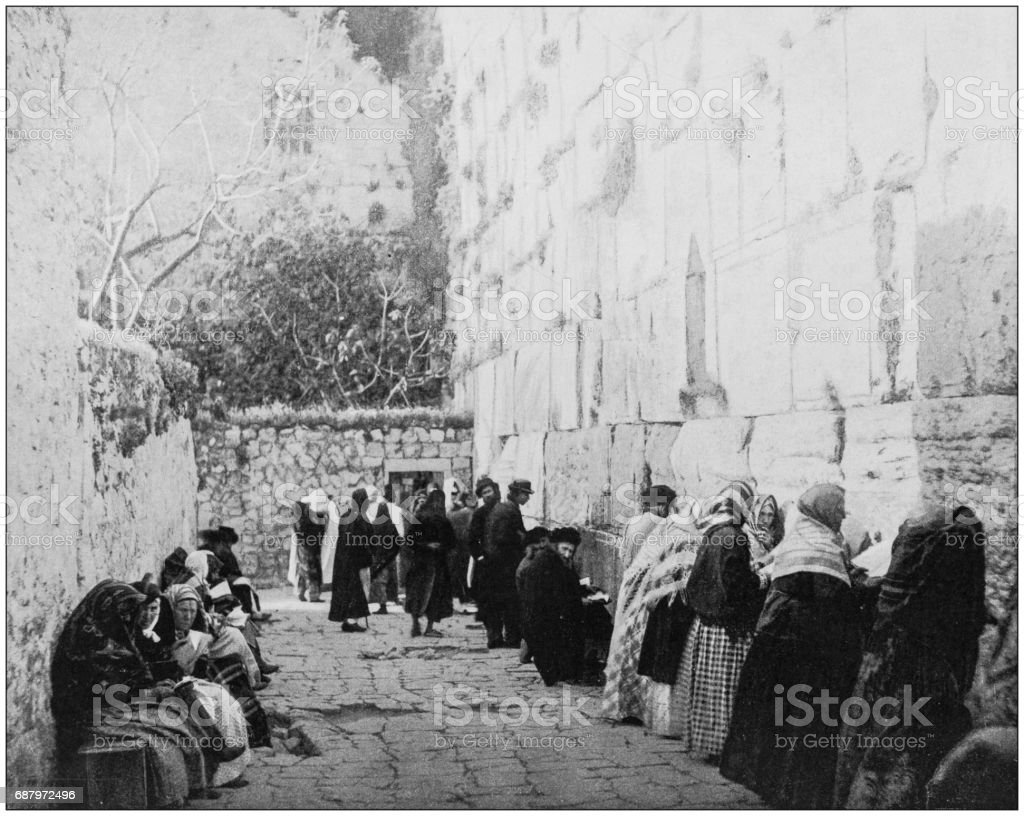 Antique photographs of Holy Land, Egypt and Middle East: Jewish wailing place, Western Wall stock photo