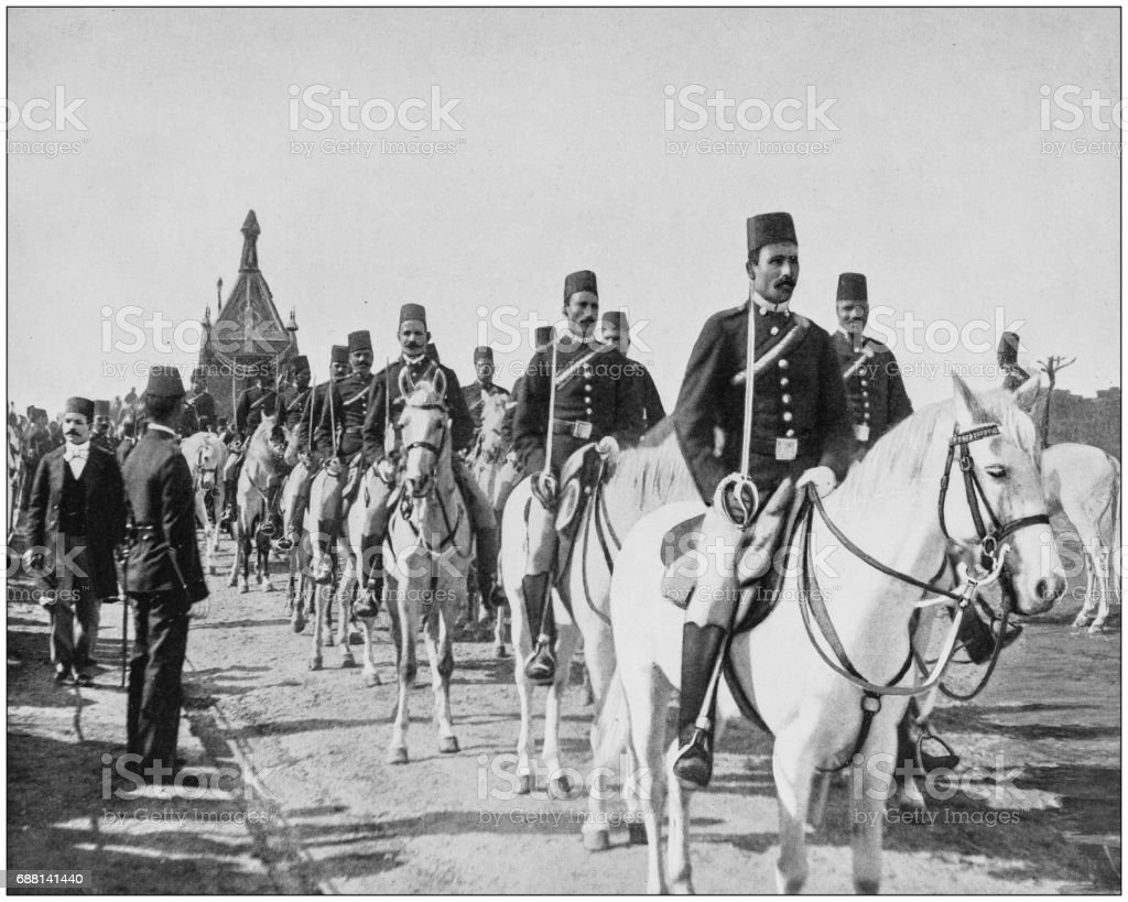 Antique photographs of Holy Land, Egypt and Middle East: Procession in the Festival of the Mah'Mal stock photo