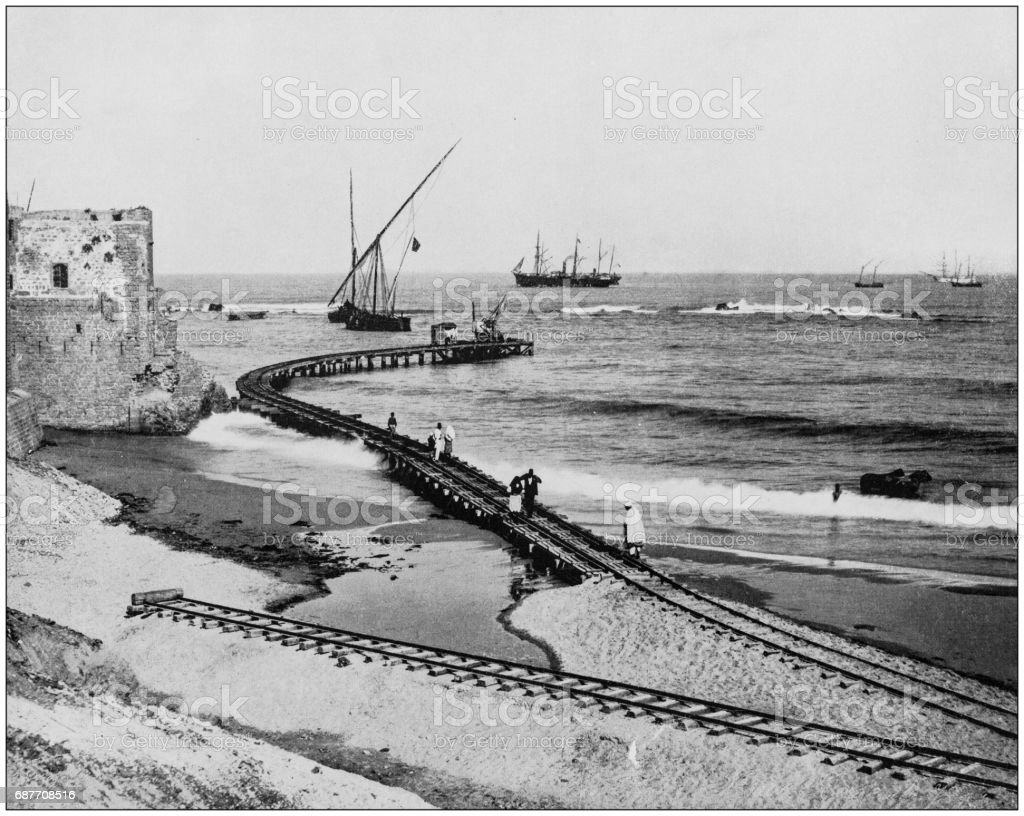 Antique photographs of Holy Land, Egypt and Middle East: Road in the harbor of Jaffa stock photo