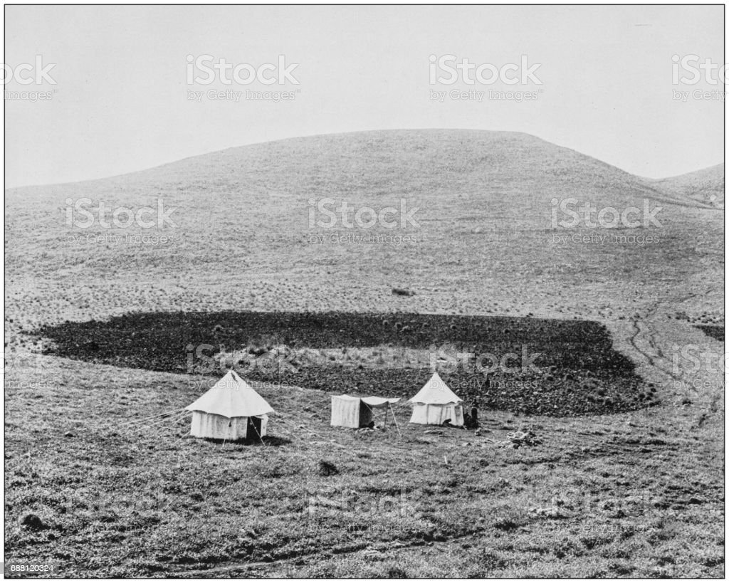 Antique photographs of Holy Land, Egypt and Middle East: Tents in Khan Jubb Yusef stock photo