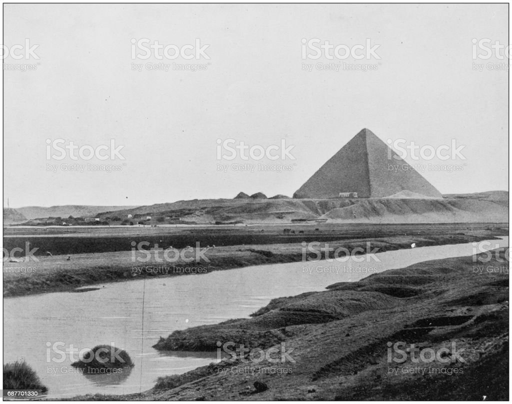 Antique photographs of Holy Land, Egypt and Middle East: The great Pyramid of Egypt stock photo