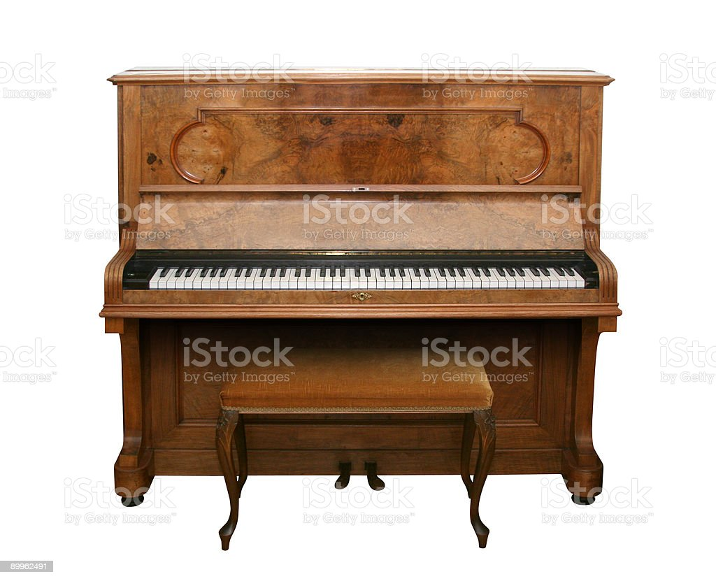 Antique Piano with path stock photo