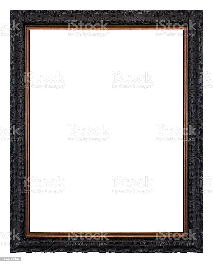 Antique Picture Frame - Gothic Black and Bronze Style stock photo