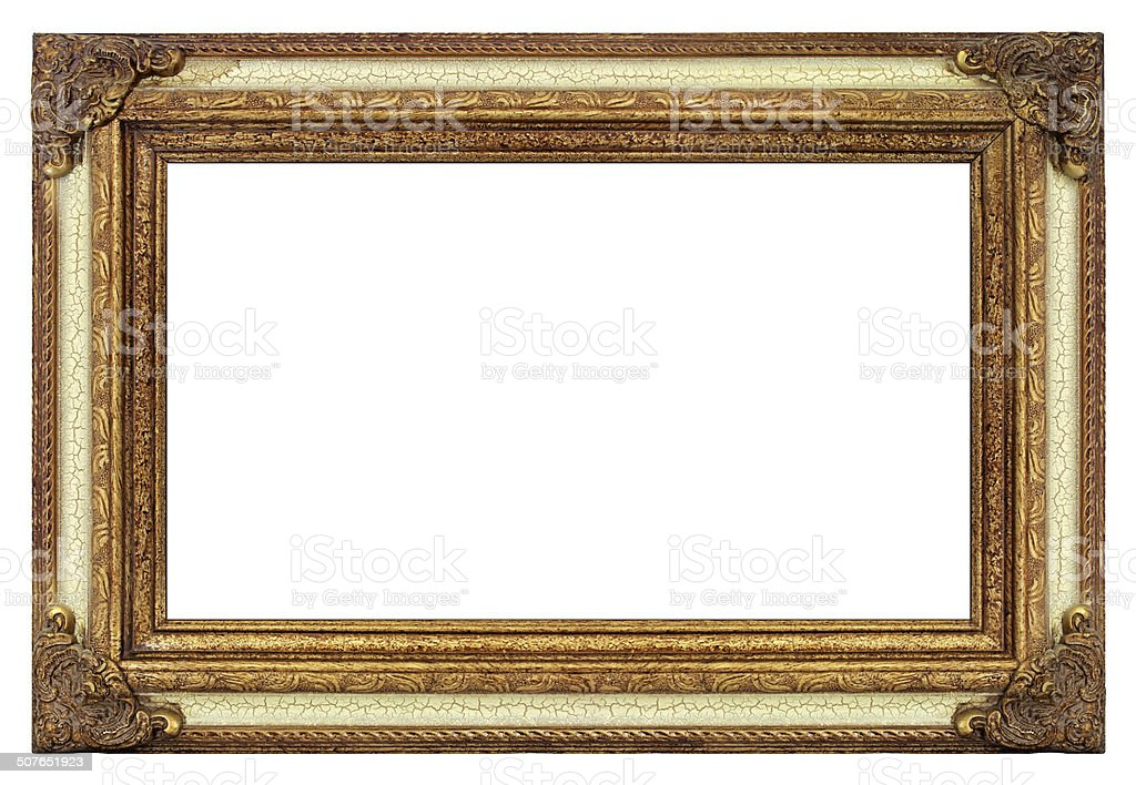 Antique Picture Frame in Gold & Aged Cracked Paint stock photo