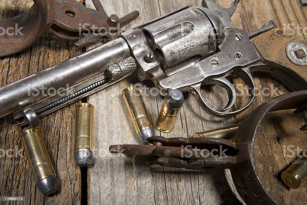 Antique Pistol With Bullets and Spurs stock photo