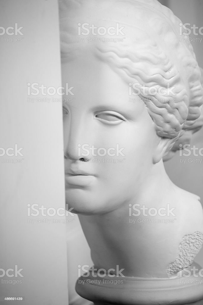 antique plaster bust of a young girl stock photo