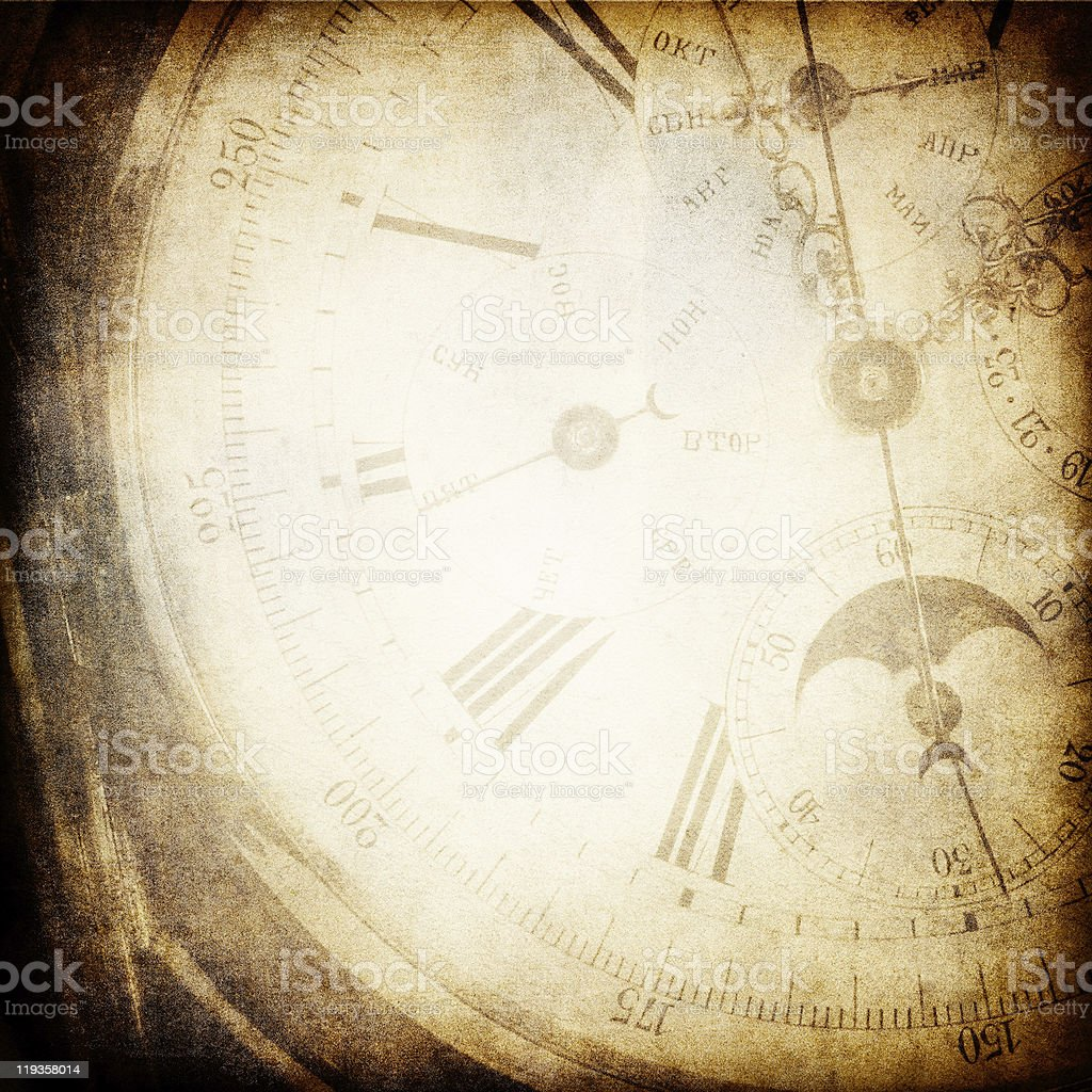 Antique pocket clock face background. stock photo