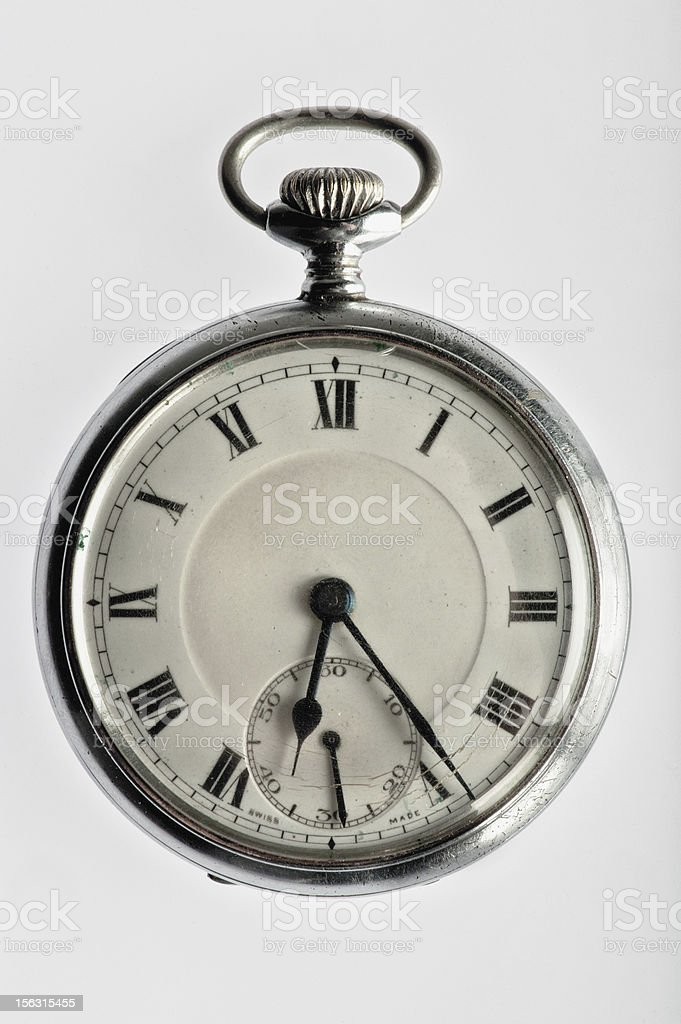 Antique Pocket Watch Isolated on White royalty-free stock photo