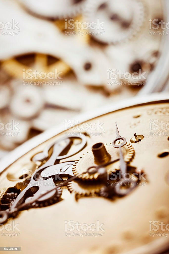 Antique pocket watch parts stock photo