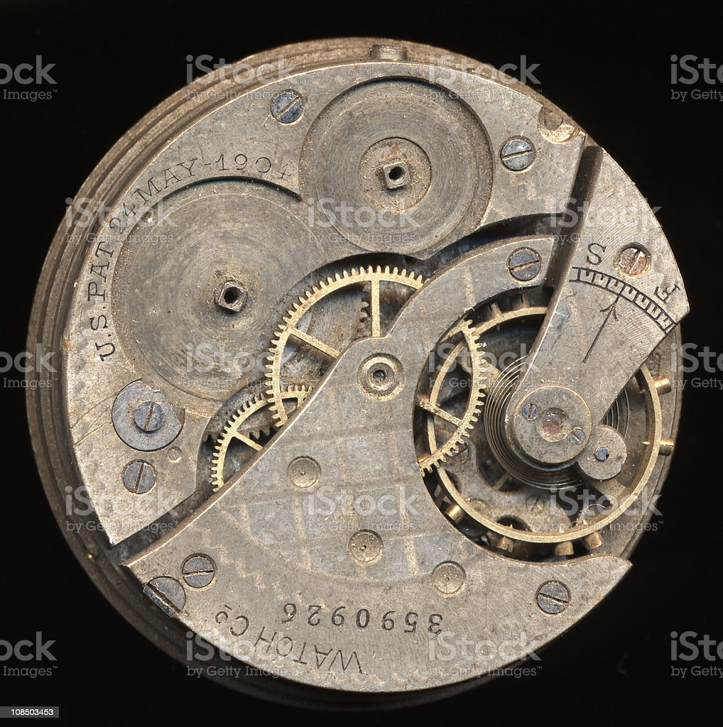 Antique Pocketwatch Gears royalty-free stock photo