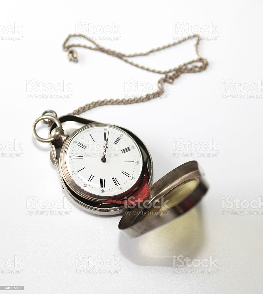 Antique pocketwatch in case royalty-free stock photo