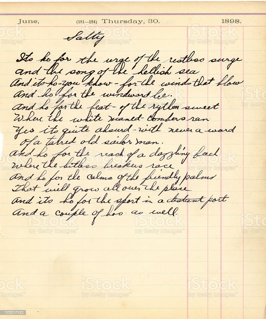 Antique Poem royalty-free stock photo