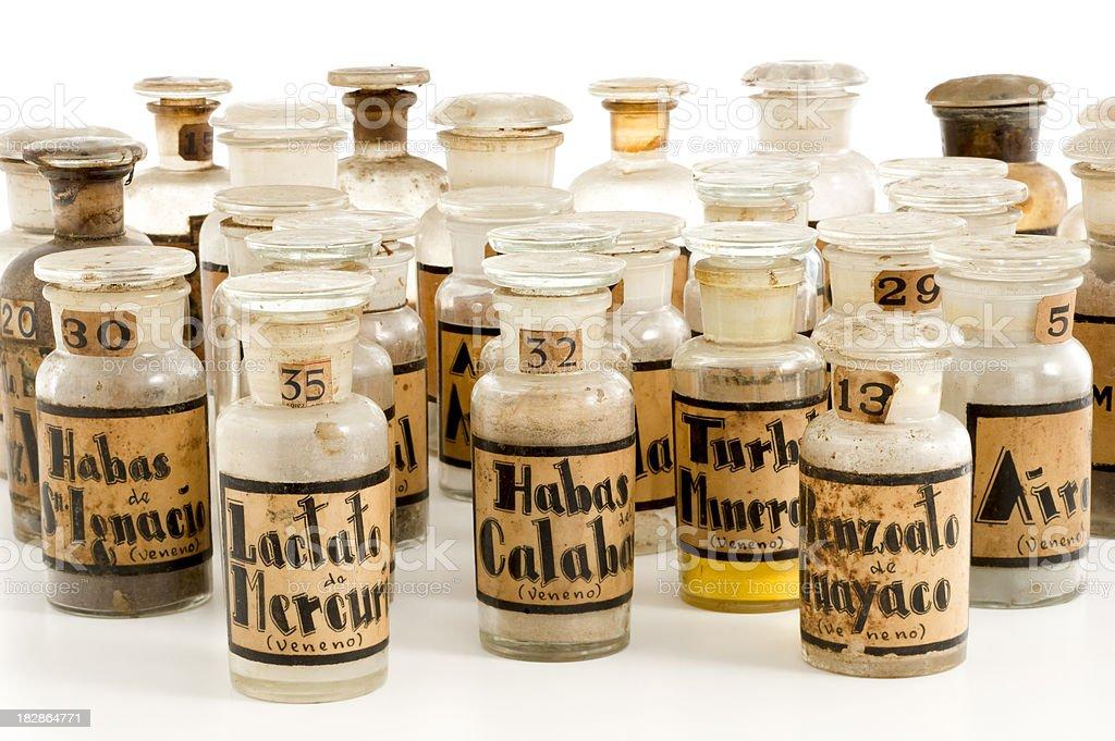 antique poison bottles royalty-free stock photo