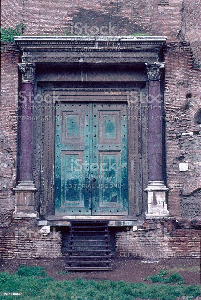 Antique portal in the Roman Forum, Rome stock photo