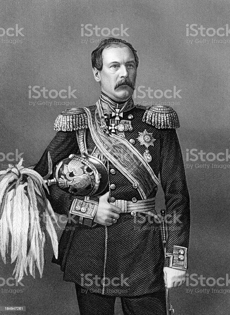 Antique Portrait of Russian General Franz-Edward Ivanovich Todtleben circa 1850s stock photo