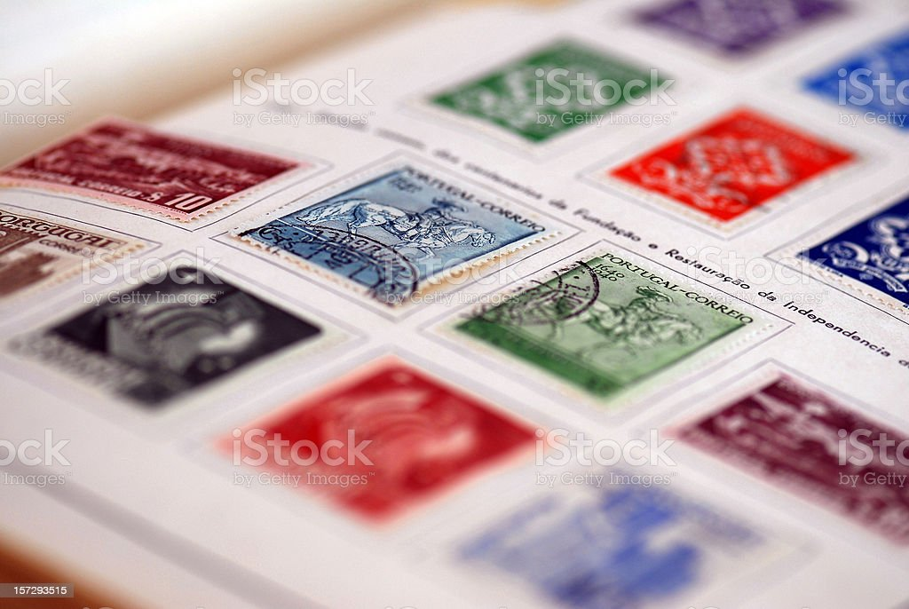 Antique portuguese stamps royalty-free stock photo