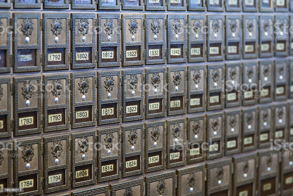 Antique Post Office Boxes stock photo