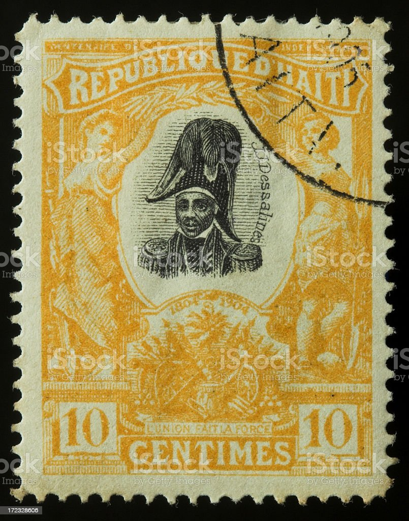 Antique postage stamp from Haiti stock photo