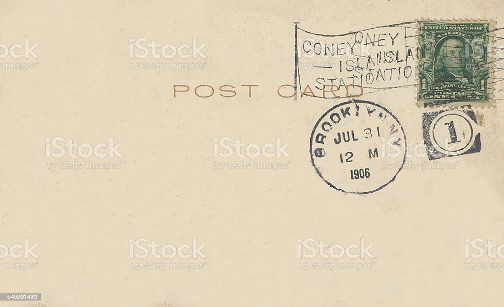 Antique Postcard 1906 Back Coney Island Brooklyn NY Postmark stock photo